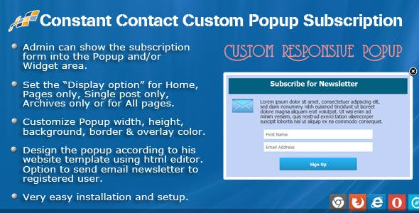 Constant Contact Custom Popup Subscription for WP - CodeCanyon Item for Sale