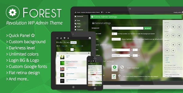 Forest - Revolution Wordpress Admin Theme - CodeCanyon Item for Sale