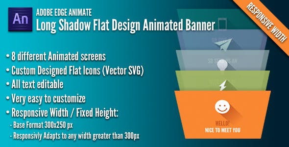 Long Shadow Flat Design Banner