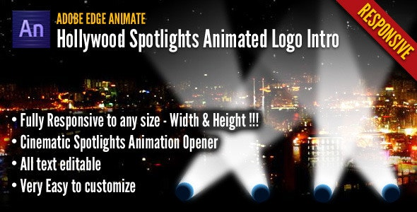 Hollywood Spotlights Animated Logo Intro - CodeCanyon Item for Sale