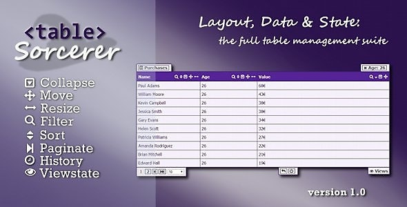 Table Sorcerer - jQuery UI Table Management Suite - CodeCanyon Item for Sale