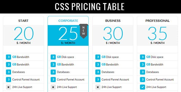 Clean Modern Pricing Table