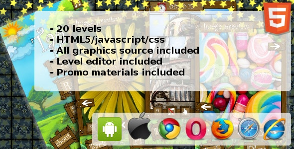 Tags - puzzle HTML5 game - CodeCanyon Item for Sale