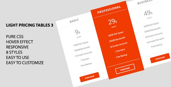 Light Pricing Tables 3 - CodeCanyon Item for Sale