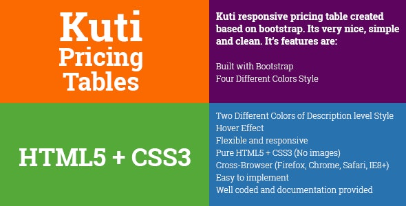 Kuti Responsive Pricing Table - CodeCanyon Item for Sale