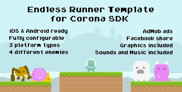 Corona SDK Endless Runner Template with AdMob - CodeCanyon Item for Sale