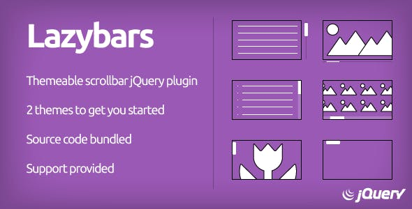 Lazybars - CSS Themeable Responsive Scrollbar jQuery Plugin
