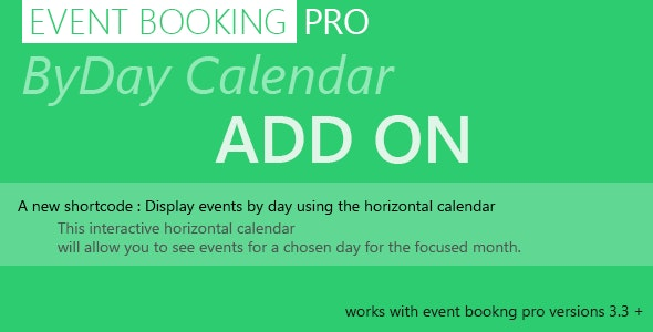 Event Booking Pro : byDay Calendar Add on - CodeCanyon Item for Sale