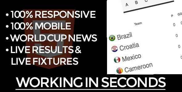 Brazil World Cup Soccer HTML5 Widget - CodeCanyon Item for Sale
