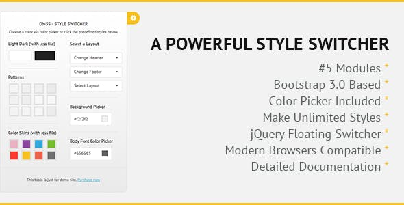 DMSS - Bootstrap jQuery Style Switcher - CodeCanyon Item for Sale