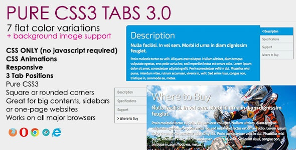 Pure CSS3 Tabs  - CodeCanyon Item for Sale
