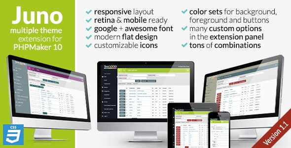 Juno, CSS3 extension theme for PHPMaker10 - CodeCanyon Item for Sale