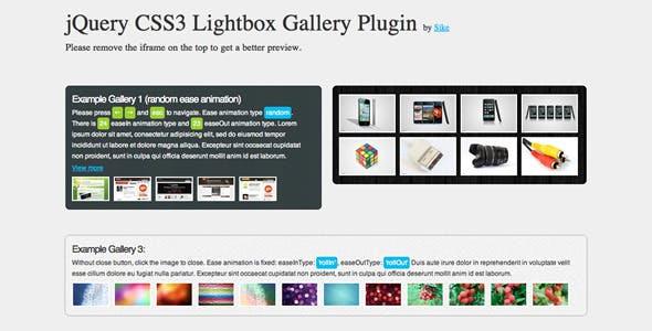 jQuery CSS3 Lightbox Gallery Plugin