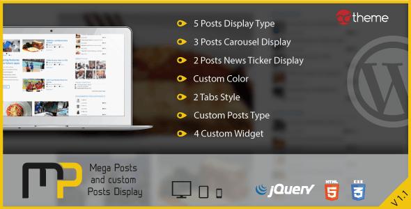 Mega Posts and Custom Posts Display WP Plugin - CodeCanyon Item for Sale