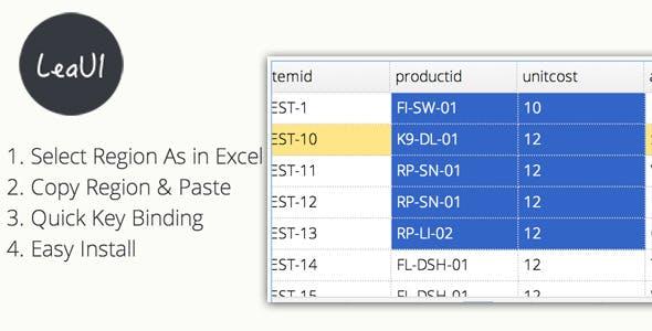 EasyUI Datagrid Region Select