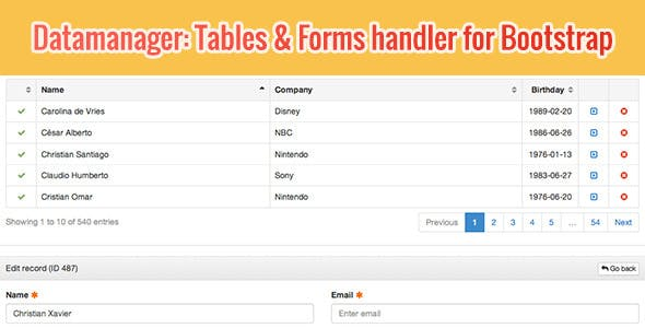 DataManager: Tables & Forms handler for Bootstrap